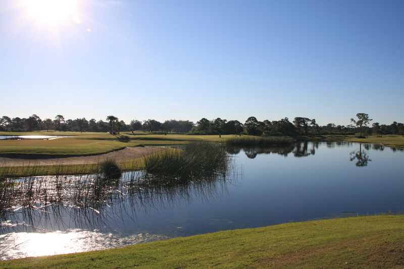 View of a pond on the course at Sandridge Golf Club